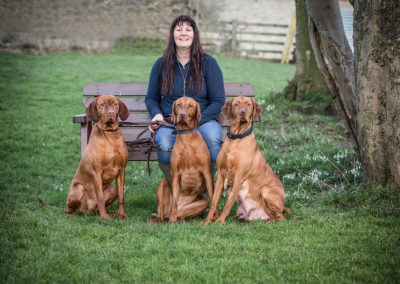 Dawn with three of the dogs