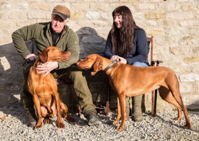 Paul and Dawn with two of their Hungarian Vizslas